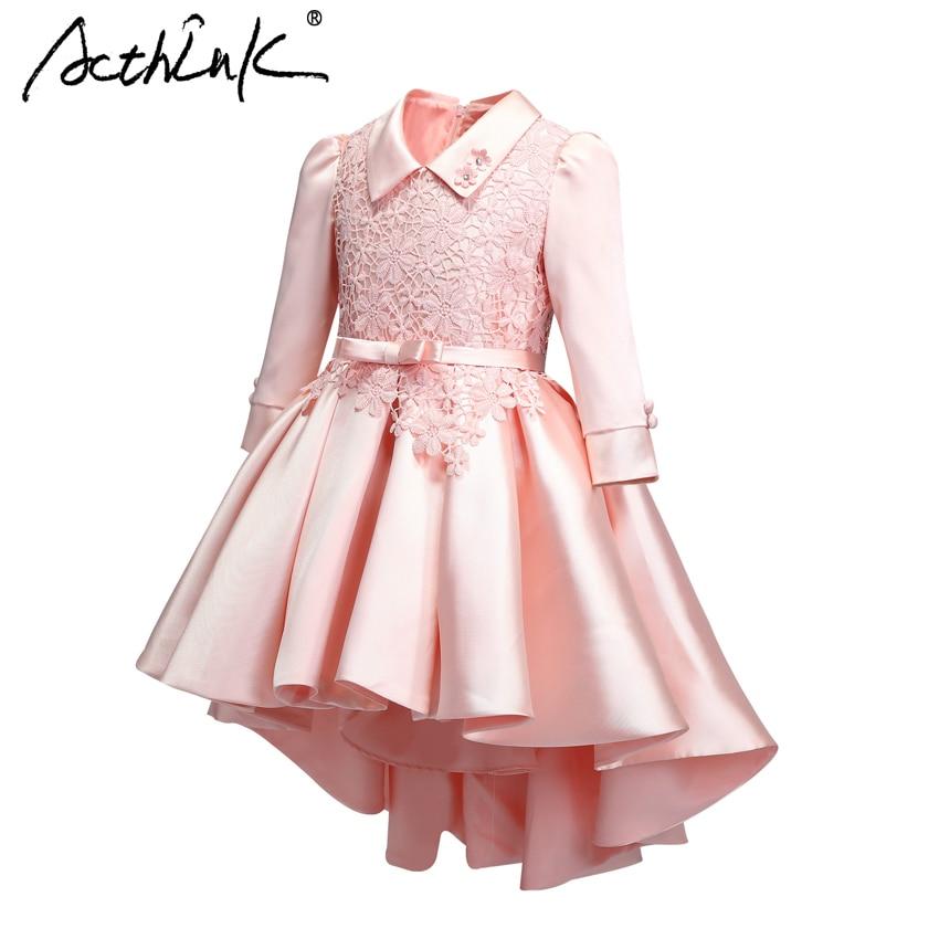 ActhInK adolescente été fleur broderie robe Prncess filles manches longues robe de mariée formelle soirée robe avec ceinture