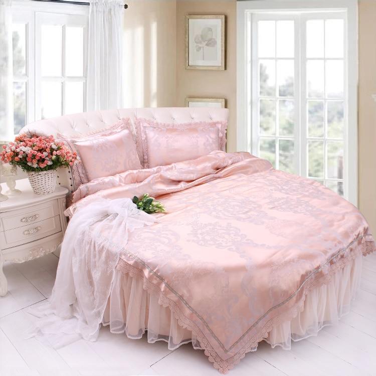 ROUND Bed Bedding 4pcs Set Jacquard Satin Lace Wedding ...