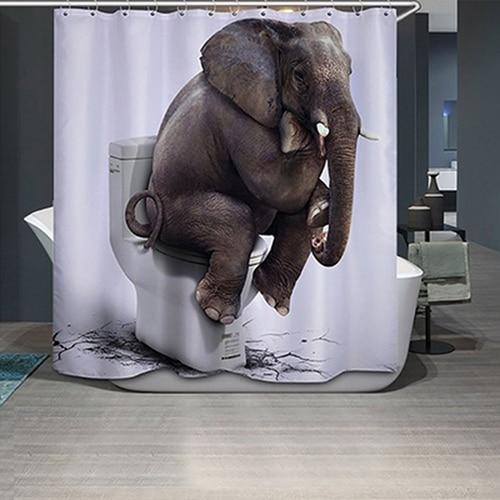 71 X Inch 3D Animal Elephant Printed Bathroom Shower Curtain With 12 Hooks
