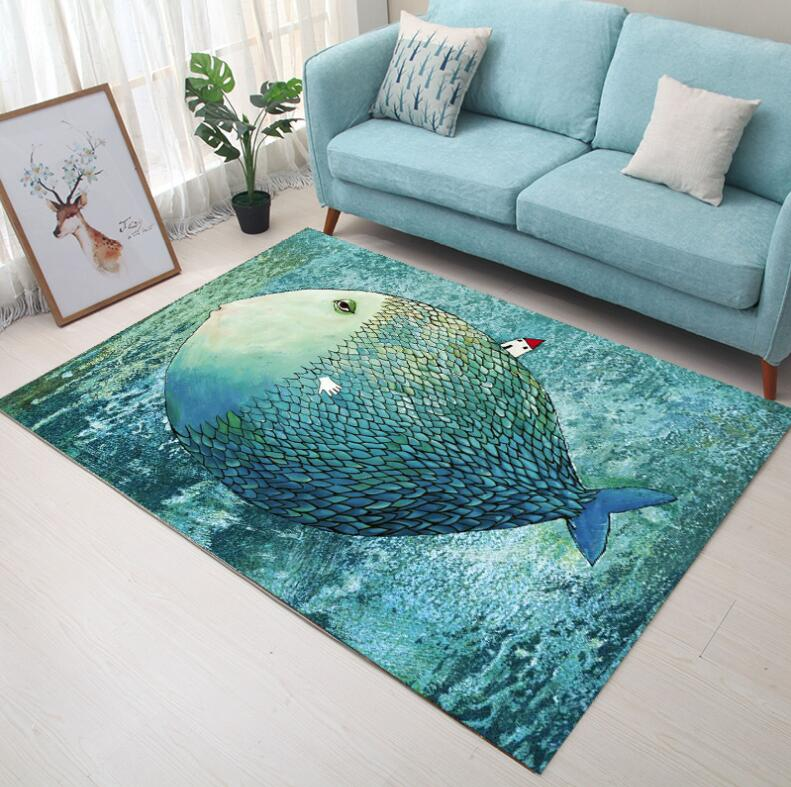 Super Soft Flannel Carpet Abstract hand drawed Elk Carpet crawling pad thicken play mat tapis Non