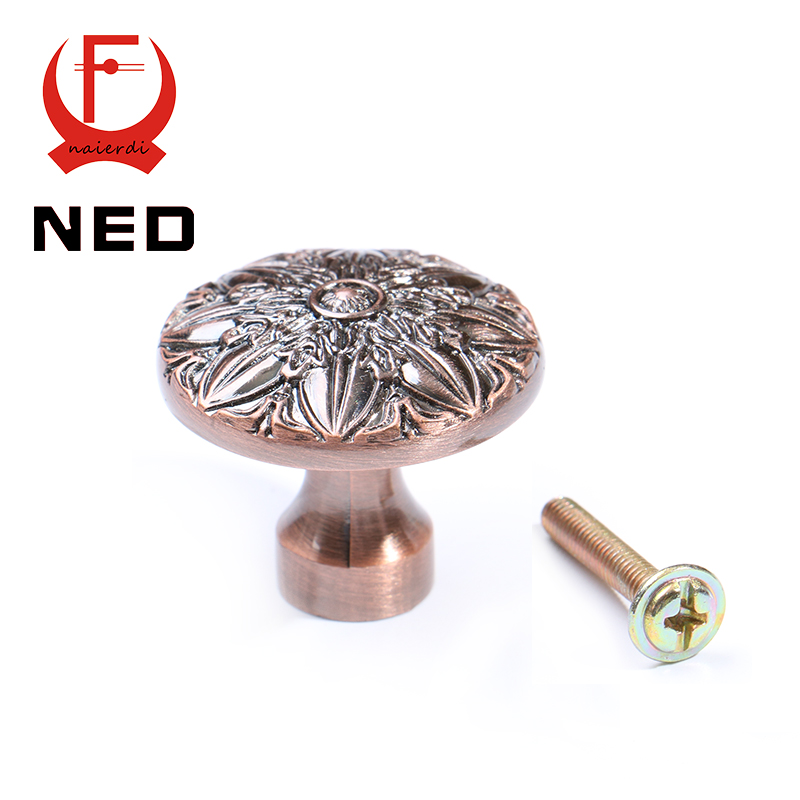 NED-RB6064 Retro Red Bronze Kitchen Cabinet Knobs Door Cupboard Zinc Alloy Handles Wardrobe Furniture Single Handle Drawer Pulls