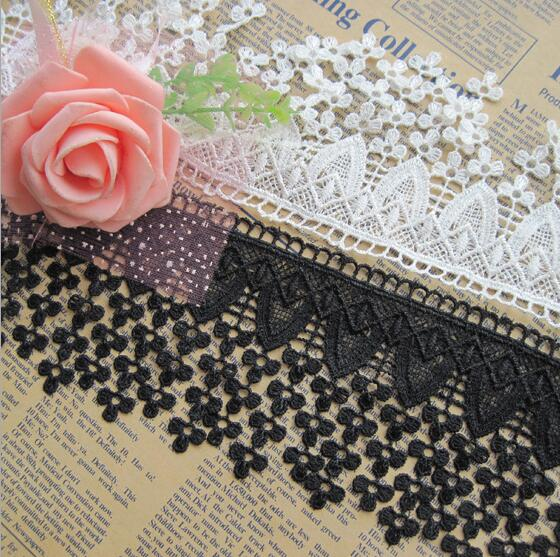 2018 15 Yard White/Black Embroidered Teardroptassel Cotton Lace Fabric Trim  Ribbon For Apparel Sewing Diy Doll Cap Hair Clip From Goodquality610, ...