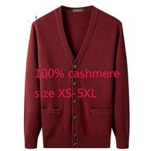 새로운 도착 고품질 남자 100% 캐시미어 짙은 자 켓 스웨터 캐주얼 컴퓨터 니트 v 목 카디 건 남자 플러스 크기 XS 5XL