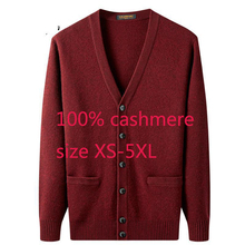 Nova chegada de alta qualidade homens 100% cashmere engrossado jaqueta camisola computador casual malha com decote em v cardigan masculino plus size XS 5XL