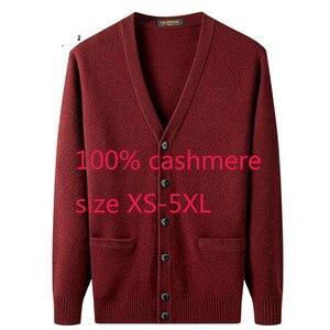 Image 1 - Yeni varış yüksek kaliteli erkek 100% kaşmir kalınlaşmış ceket kazak rahat bilgisayar örme v yaka hırka erkekler artı boyutu XS 5XL