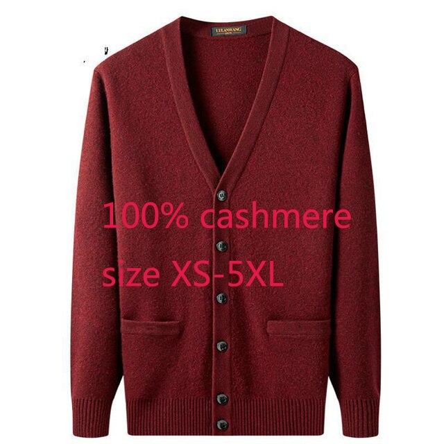 Yeni varış yüksek kaliteli erkek 100% kaşmir kalınlaşmış ceket kazak rahat bilgisayar örme v yaka hırka erkekler artı boyutu XS 5XL