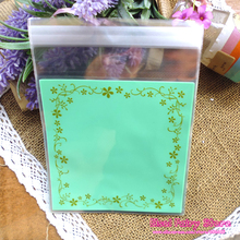 200pcs-12x12cm Light green Flower Lace Baking Gift Food Plastic Bags Cute Small Biscuit Bag Party Favor Cellophane Bags(Hong Kong)