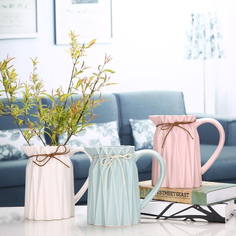 Modern Desktop Glass Vase Home Decor Flower Container Terrarium <font><b>Plant</b></font> Flower Pot Ceramic Vase Home Office Decor Simple Craft