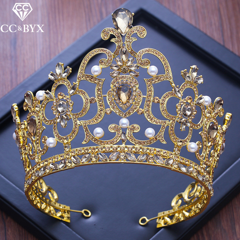 CC big tiaras and crowns baroque style engagement wedding hair accessories for bride fine jewelry high quality water drop XY233