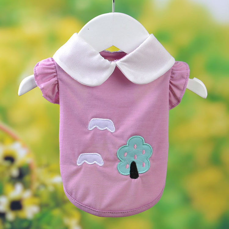 Fresh Cute Dog Coat Shirt For Small Dogs Puppy Pet Cotton T-shirt Vest Teddy Chihuahua Clothes in Spring and Summer Blue Yellow Pink Purple5