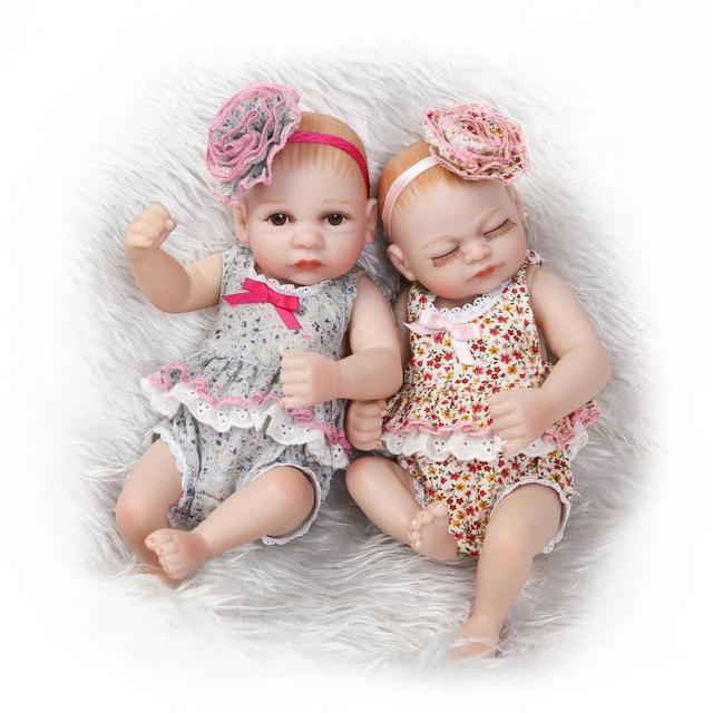 55e185d39b5 Cute dolls 27cm Mini Newborn Baby Twins Girl Reborn Babies Doll fashion  dress Children Playmate Bath
