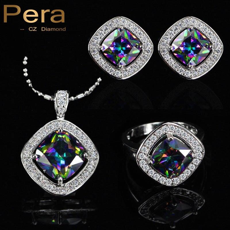 PERA Мода 3 предмета Природный Радуга большим квадратным камнем Серьги и кулон 925 стерлингов Серебряные Ювелирные изделия Набор для Для женщин j166