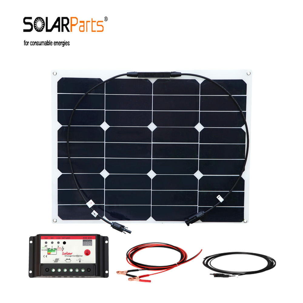 Solarparts 40w flexible soalr panel solar cell module power generation system for car/RV/yacht 12v battery charger 200w 2x100w mono flexible solar panel solar module energy roof camper rv yacht solar generators