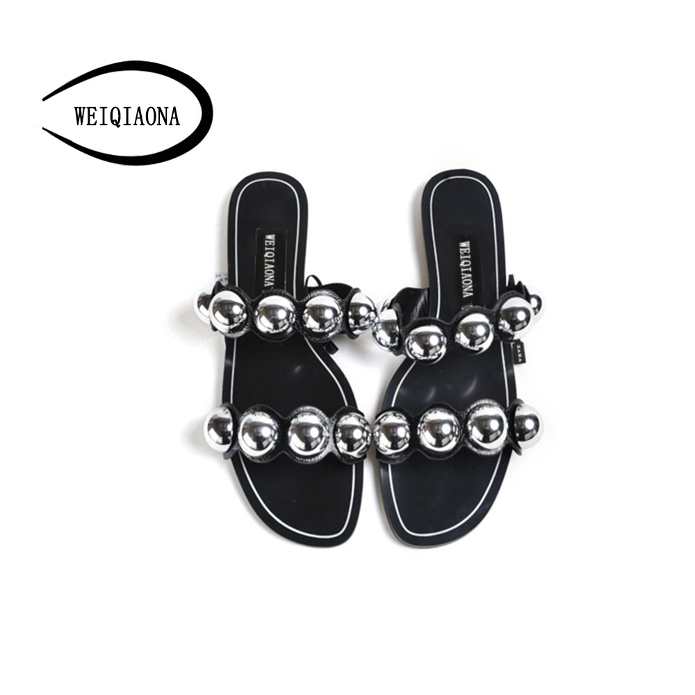 WEIQIAONA 2018 New Summer Casual Women for Shoes Sandals String Bead Open Toe Flats Comfortable Flat Filp Flops Beach shoes women s shoes 2017 summer new fashion footwear women s air network flat shoes breathable comfortable casual shoes jdt103