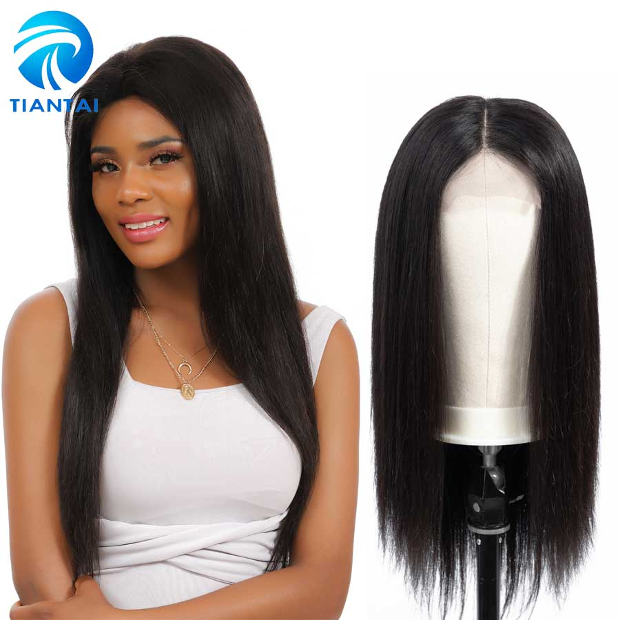 Brazilian 4x4 Closure Wig Lace Human Hair Wigs Long Straight Remy Hair Free Part Lace Front Wigs For Woman Preplucked 10 24