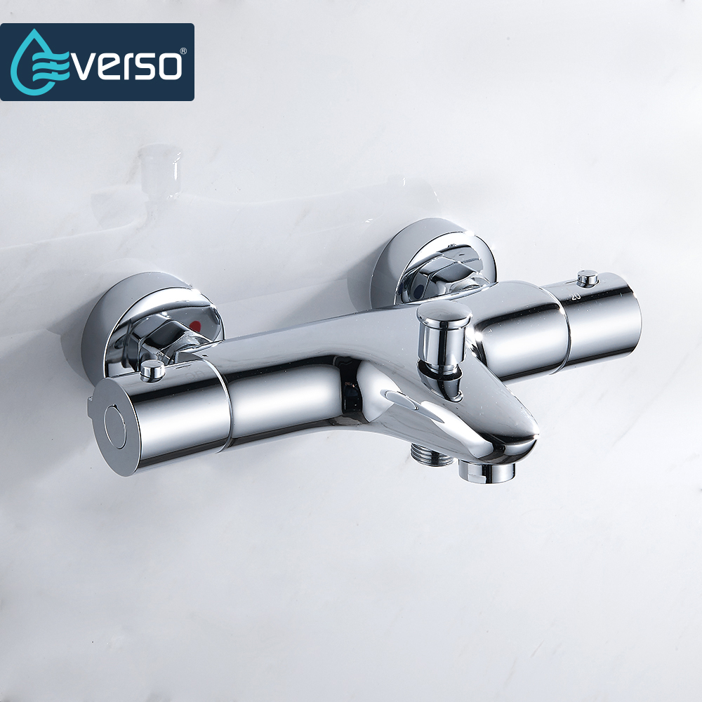 EVERSO Bathroom Shower Set Thermostatic Mixing Valve Shower Faucets Wall Mounted Thermostatic Shower Mixer