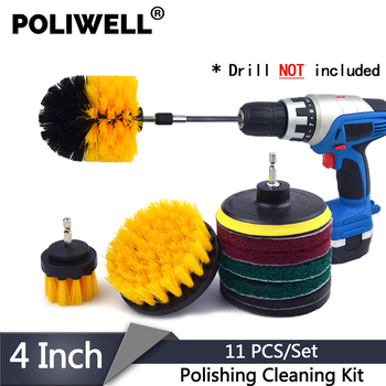 POLIWELL 11 Pcs/Set Power Scrubber Brush+Sanding Pad +Scouring Pads Car Polishing Cleaning Kit Bathroom Clean for Electric Drill