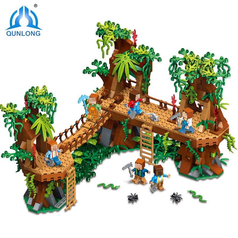 Qunlong 686pcs Old Forest Tree Building Blocks DIY Sets Compatible Legoings Minecrafted Action Figure Toy For Children Xmas Gift цена