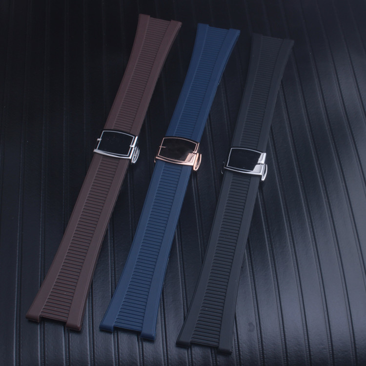 High quality 25mm Black Brown Blue Sillicone Rubber Watchband Strap For PATEK PHILI Nautilus 5712G <font><b>7010G</b></font> Watch image