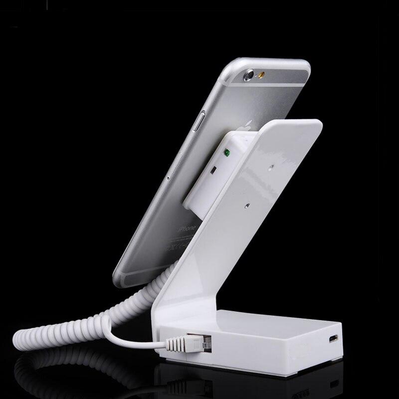 10 pcs L shape metal mobile phone security stand cellphone display alarm iphone anti-theft lock burglar alarm for retail shop