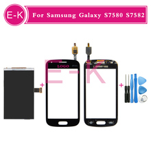 """High quality 4.0"""" For Samsung Galaxy S Duos 2 S7580 S7582 LCD Display + Touch Screen Digitizer Glass Panel Black White + Tools"""