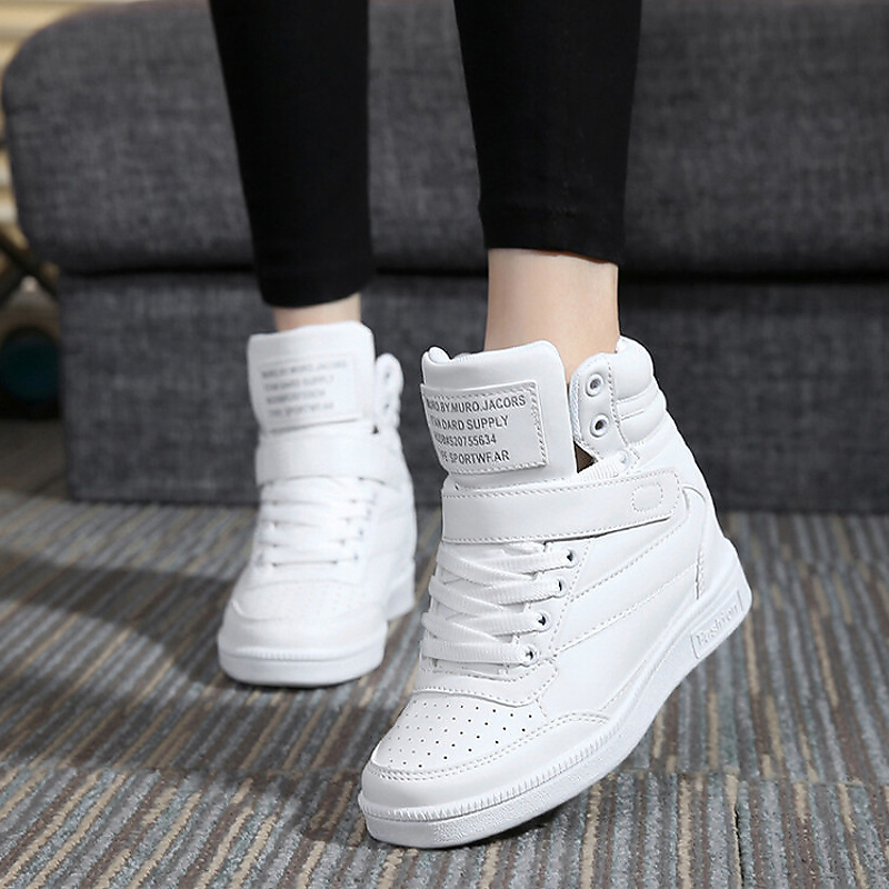 2017 Spring Autumn Ankle Boots Flat Heels Women Casual Shoes Hidden Wedges High Top Leather shoes Ladies Creepers Zapatos Mujer brand rivets patchwork ankle boots hidden wedges platform martin boots high heels pointed toe spring autumn boots zapatos mujer