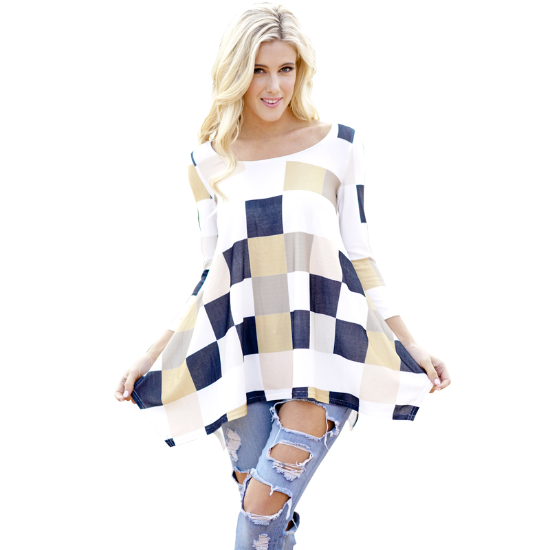 Women Polyester Irregular Spring T Shirt 2018 Female 3/4 Sleeve T-shirts O <font><b>Neck</b></font> 3XL Plus Size Ladies Tops <font><b>Geometric</b></font> <font><b>Print</b></font> Tops