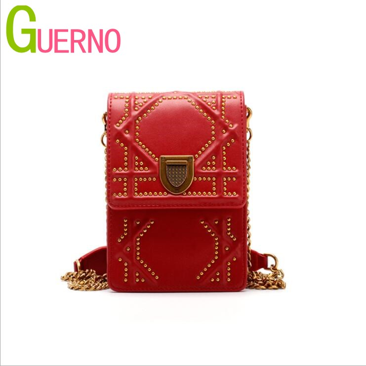 GUERNO Spring and summer 2018 new women's bag leather rivet leather bag shoulder diagonal bag al015 spring and summer 2018 new chinese