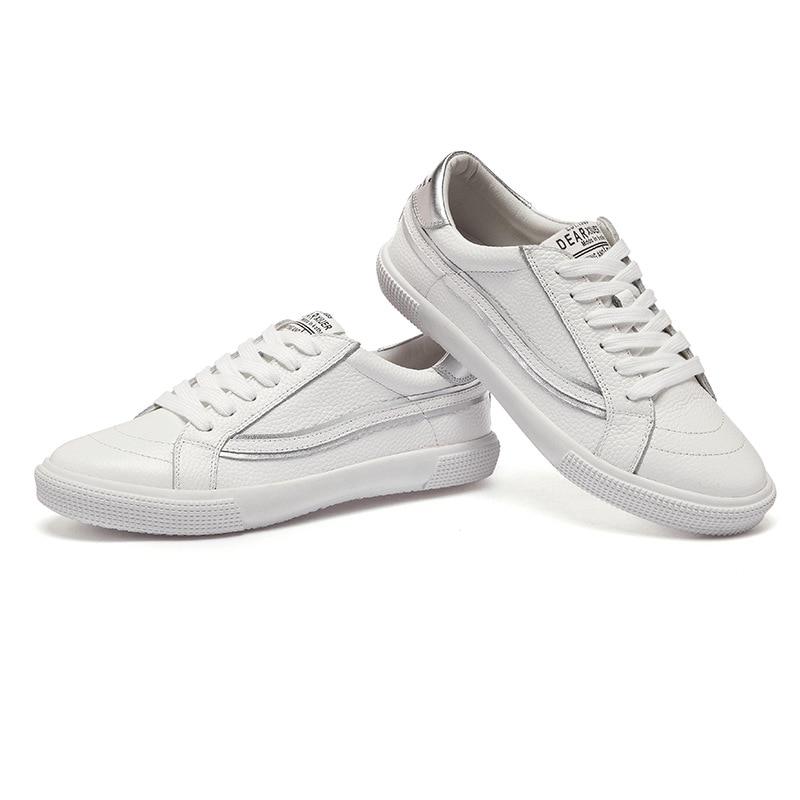 Señoras De 01 Calidad Mujeres 02 Zapatos Casuales Marca Planos Las Genuino white Cuero Red A072 100 white Zapatillas Alta Transpirable White And Blanco Los La Silver 01 65wqA