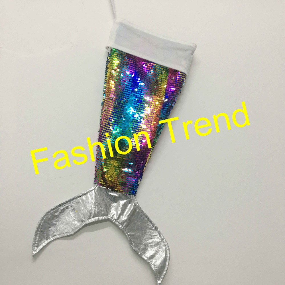 d303f214a53 50pcs lot monogram personalized gifts sequins mermaid tail stockings for  Christmas Children s candy bag wholesale-in Stockings   Gift Holders from  Home ...