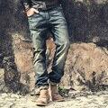 2016 Марка мотоцикла denim байкер джинсы мужчин Slim Fit Промывают винтаж Рваные джинсы для мужчин Эластичный Джинсовые Брюки узкие джинсы мужчины