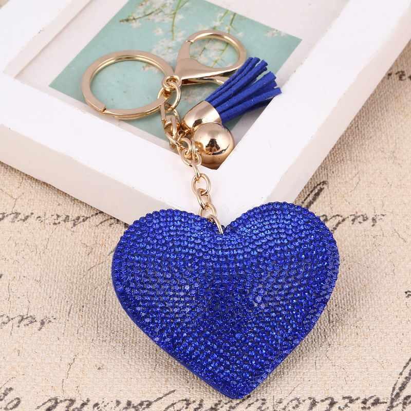 2017 кожа кисточкой красочный сплав Кристалл цепочка для ключей в форме сердца для женщин кошелек для девочек Сумочка брелок для ключей Сумочка брелок подарок