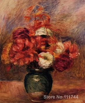 modern art paintings Flowers in a Green Vase Dahlilas and Asters hand painted art by Pierre Auguste Renoir High quality