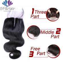 Virgin Human Hair Brazilian Body Wave Closure 4X4 Brazilian Lace Closure Bleached Knots Free Middle 3 Part  Human Hair Closure