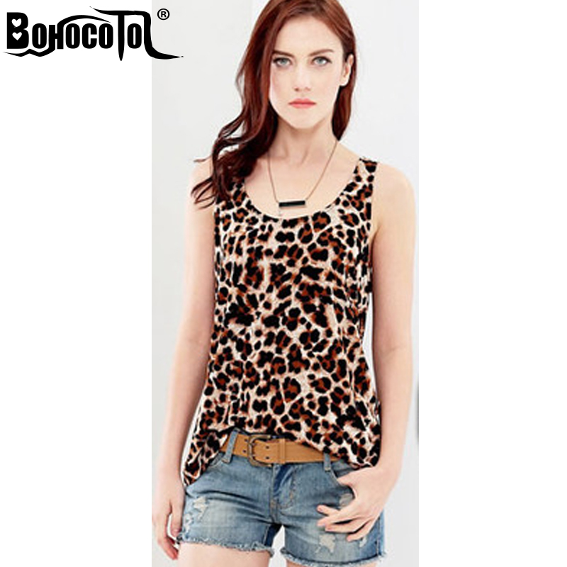 BOHOCOTOL Fashion Sexy Leopard Tank Top Women vest Deep O Neck Sleeveless Tops summer Beachwear Tops Leopard