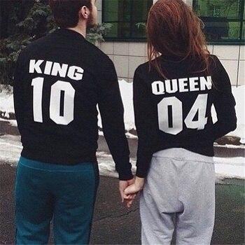 Sudaderas para parejas Street Hip-pop KING and QUEEN, moda informal Chic, regalos para San Valentín, sudaderas sueltas para hombres y mujeres (1 uds)