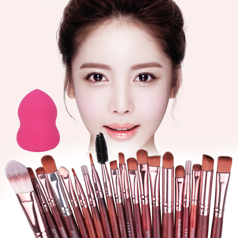 20Pcs Eye Makeup Brushes Eyeshadow Eyebrow Eyelashes Eyeliner Lipstick Professional Brush Set + Foundation Cosmetic Puff