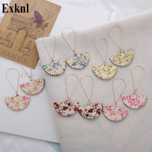 Exknl Fashion Long Wood Drop Earrings Vintage Dangle Korean Flower Ethnic Bohemian for Women Party Jewelry