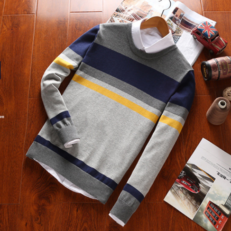 2018 Winter Striped Sweater Mens Brand O Neck Slim Fit Knitted Cotton White Men s Sweaters