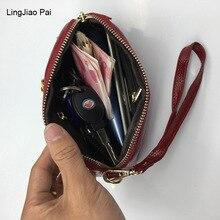 LingJiao Pai Cheap Large Capacity Genuine Leather Clutch Wallets Women Phone Pocket Travel Handbag With Wrist Strap