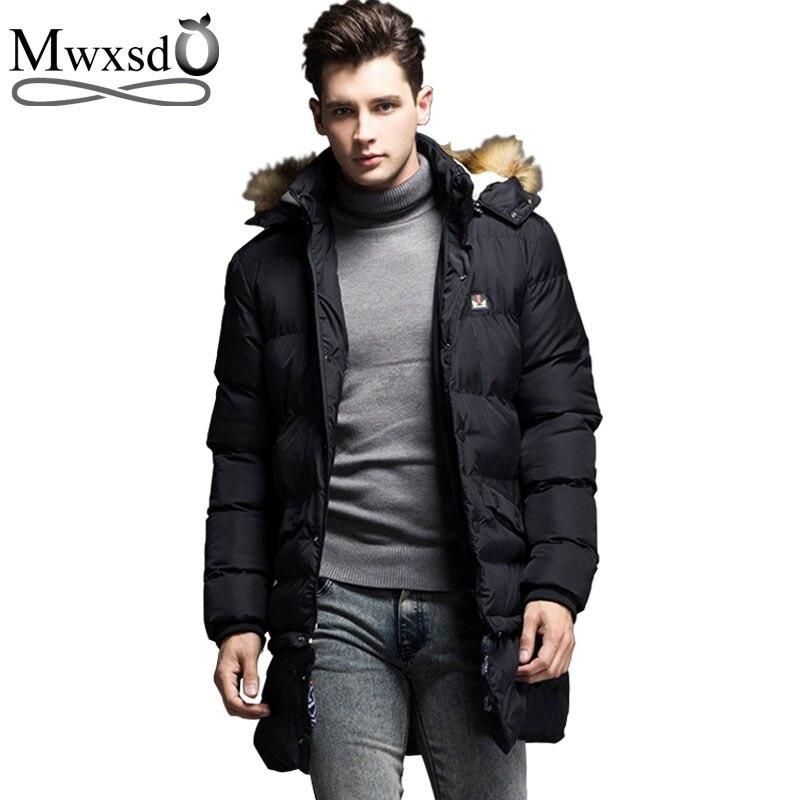 2018 мужские зимние теплые средней длины с капюшоном Куртка парка мужские парки Jaqueta Masculina Hombre теплое пальто куртка