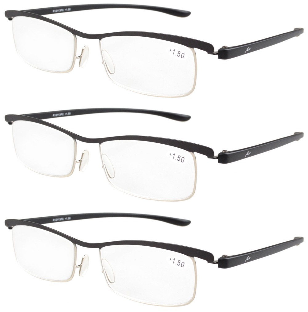Lightweight Plastic Frame Glasses : R12113 BlackSilver 3 pack Lightweight Double Color Frame ...