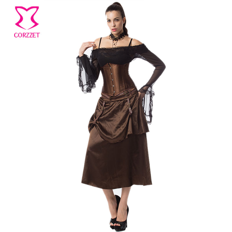 f3da4e8480dd9 US $42.63 41% OFF|Braun Satin Steampunk Korsett Sexy Rock Frauen Burlesque  Kleid Stahl Ohne Knochen Korsetts und Bustiers Gothic Kleidung in Braun ...