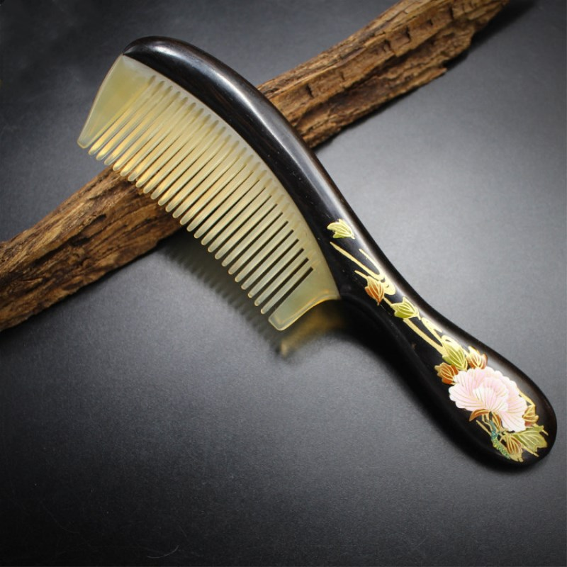 2019 Top-grade natural ebony hand-painted lacquer comb hand-made comb, corner wood splice comb, the best gift hair brush 2019 Top-grade natural ebony hand-painted lacquer comb hand-made comb, corner wood splice comb, the best gift hair brush