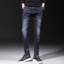 Spring and autumn new mens style old, washed, cat jeans, trend small feet Korean version of elastic casual trousers