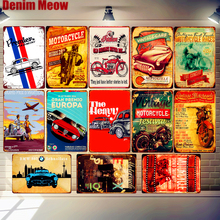 Vintage Auto Races Antique Motorcycle Metal Tin Sign Classic Car Poster Bar Pub Race Track Decor Retro Wall Art Stickers MN130