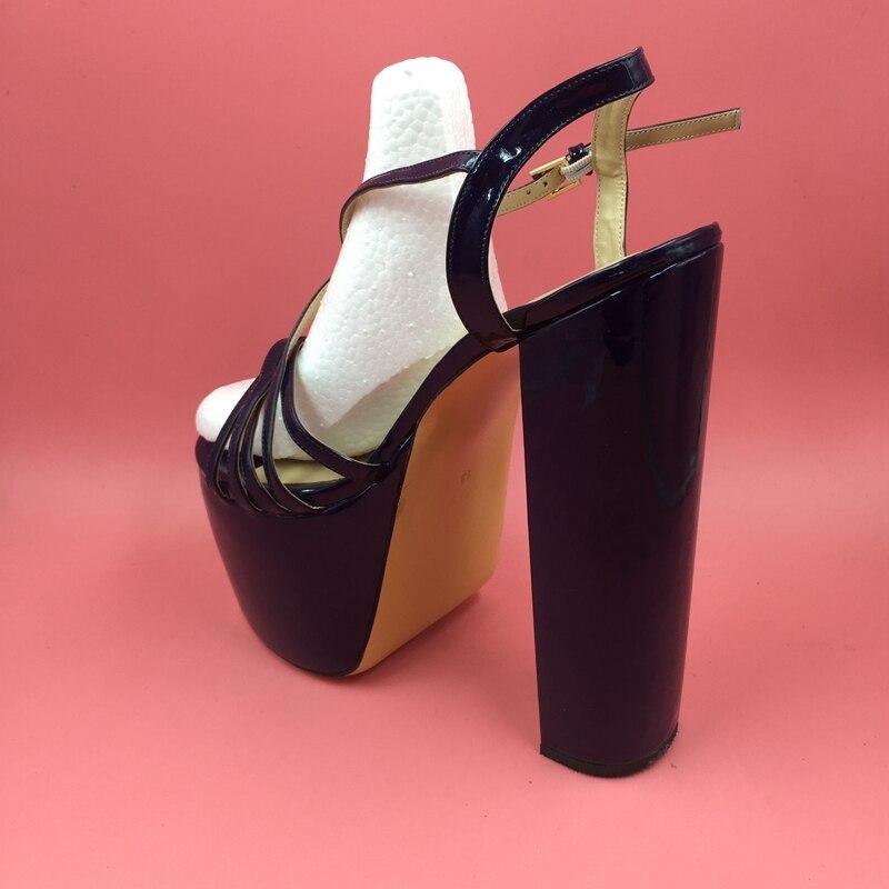 8 21 Cross Taille Bleu Plate Sandales custom Cm Femmes forme Personnalisé Criss 14 Chaussures Chunky Color rouge Bleu Marine blanc Talons Diy Strap g0PXww