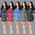5 tipos! moda otoño vestido de 2016 nuevo de las mujeres de Punto de impresión digital de manga larga o-cuello delgado de la cadera sexy party club wear vestido mini