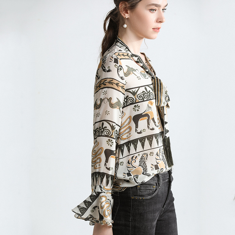 100% Silk Women Spring and Summer Jacket Sexy V-neck Trumpet Sleeve Print Fashion Elegant Women