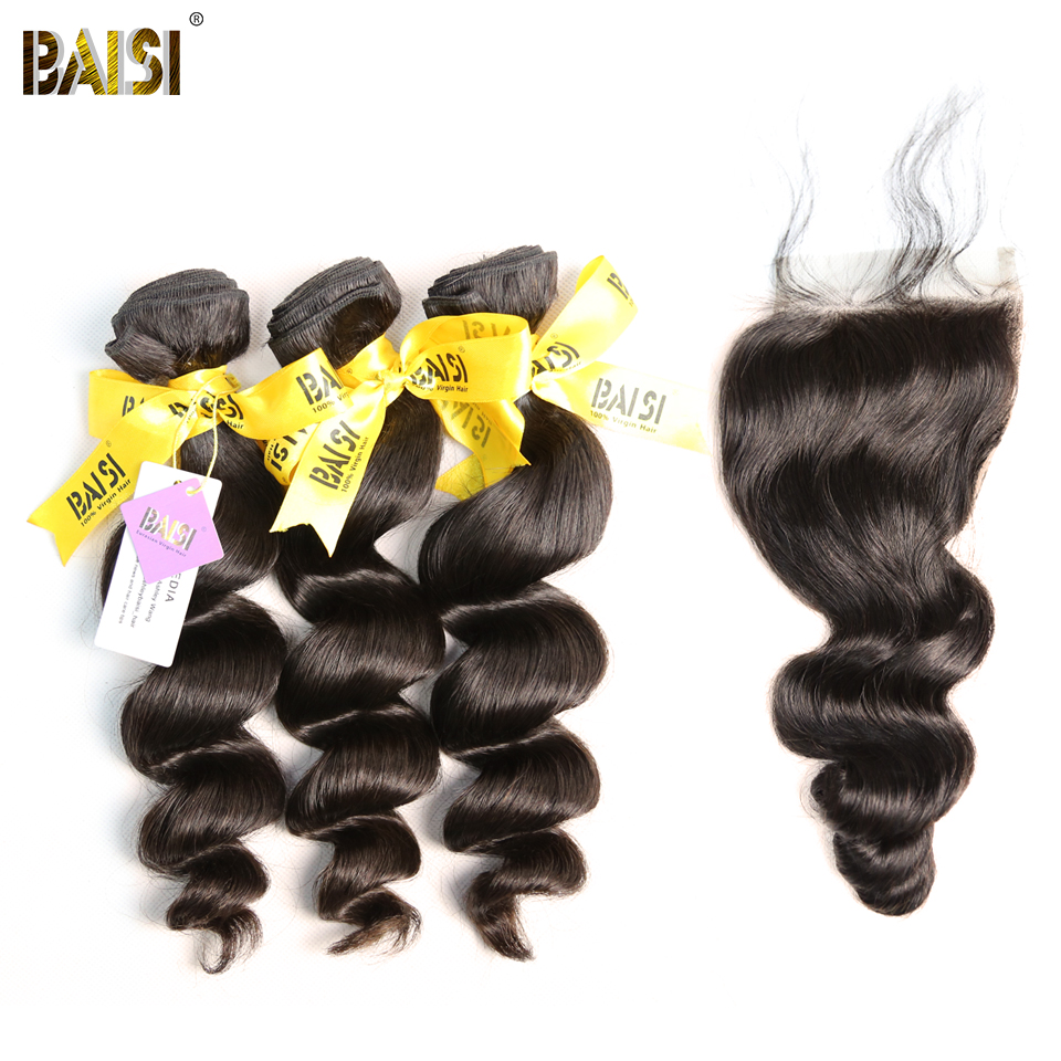 BAISI 100% Unprocessed European Virgin Hair Extensions Loose Wave 10-28inch 3 Bundles with Closure Free Shipping, Natural Color